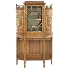 Bruce Talbert for Gillows attri, A Fine Aesthetic Movement Oak & Glazed Cabinet