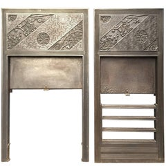 Pair of Anglo-Japanese Cast Iron Fire Inserts by T Jeckyll