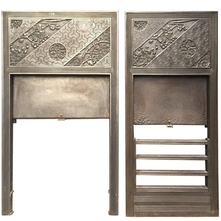 Pair of Anglo-Japanese Cast Iron Fire Inserts by T Jeckyll For Sale