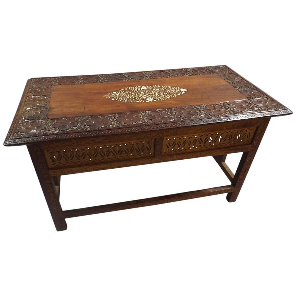 Moorish carved and inlaid coffee table at 1stdibs Carved coffee table
