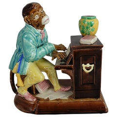 19th Majolica Monkey Pianist Humidor Tobacco Jar Sarreguemines