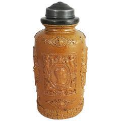 19th French Pottery Tobacco Jar Humidor Renaissance Style