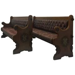 Pair of Awn Pugin Oak Benches from Abney Hall