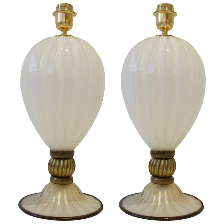 Pair of Italian Handblown Ivory and Gold Murano Glass Lamps, Signed