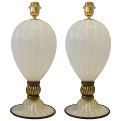 Pair of Handblown Ivory and Bronze/Gold Murano Glass Lamps, Italy, Signed, 2017