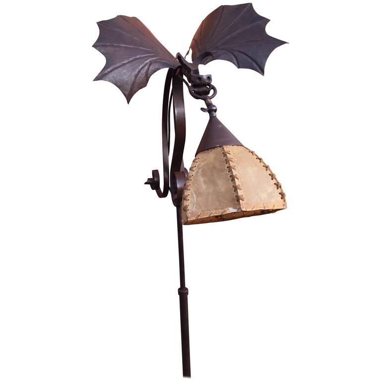 Amazing Arts & Crafts Wrought Iron Winged and Flying Dragon Floor Lamp