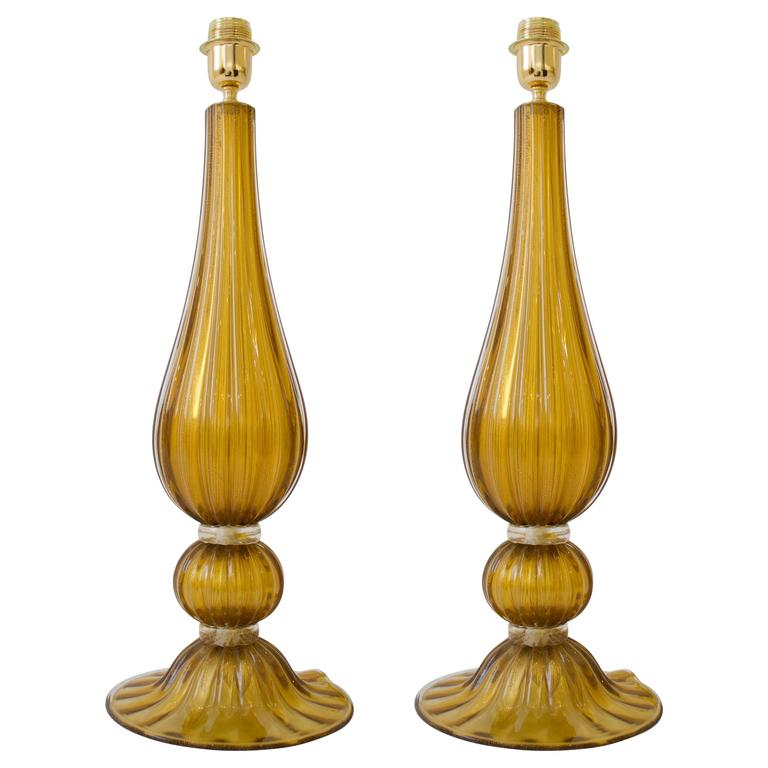 Large Pair of Handblown Italian Bronze and Gold Murano Glass Lamps For Sale