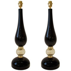 Large Pair of Black and Gold Murano Glass Lamps, Italy, Signed, 2017