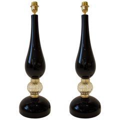Large Pair of Onyx and Gold Murano Glass Lamps, Signed
