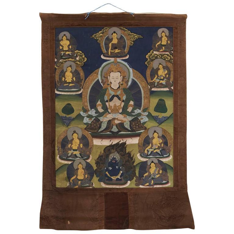 Antique Chinese/Tibetan Thanka with Buddha & Gods, 19th Century