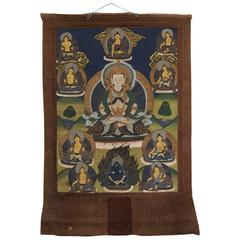 Antique Chinese/Tibetan Thanka with Buddha & Gods, 19th Century