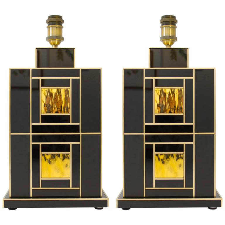 One of a Kind Signed Pair of Black and Gold Glass with Brass Inlays Lamps 1