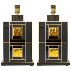 One of a Kind Signed Pair of Black and Gold Glass with Brass Inlays Lamps, Spain