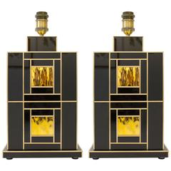 One of a Kind Signed Pair of Black and Gold Glass with Brass Inlays Lamps