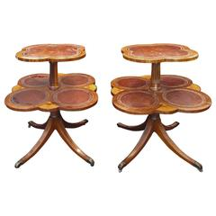 19th Century Two-Tier Side Tables with Saber Legs by J.B. Van Sciver Co.