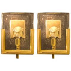 Pair of Italian Solid Murano Glass Block and Brass Sconces