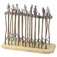 Jim Lewk Fishing Pier Copper Sculpture