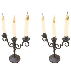 Raymond Subes Pair of Wrought Iron Two-Light Candelabra