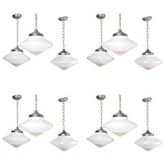 1930s Art Deco-Style Milk Glass Pendant Lights