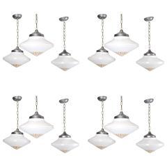 Set of 12, 1930 Deco Style Milk Glass Pendant Lights