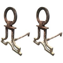 Gilbert Poillerat Wrought Iron Pair of Andirons in Vintage Condition