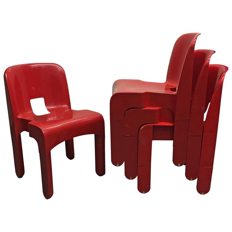 Four Universale Dining Chairs By Joe Colombo For Kartell