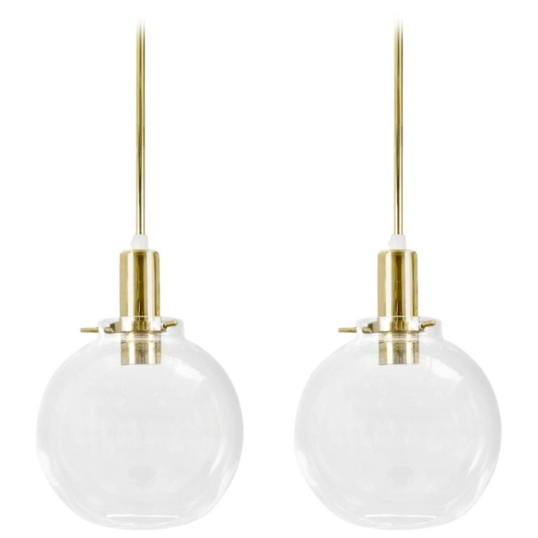 Hans-Agne Jakobsson Pair of Mid-century Pendant Hanging Lamps round glass brass For Sale
