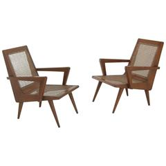 Pierre Jeanneret Style Pair of Armchairs