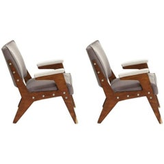 "Jose Zanine Caldas Pair of Mid-century modern BrazilianArmchairs Model ""H"""