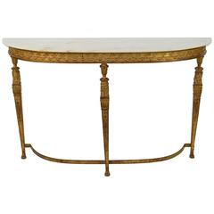 Empire Style Marble-Top and Gilt Bronze Console