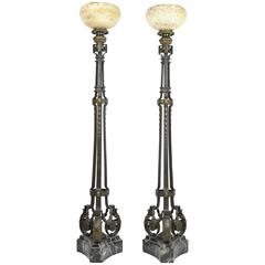 Pair of Alabaster and Bronze Floor Lamps