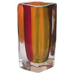 Large Venini Sommerso Murano Vase