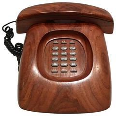 Mid-Century Modern Wood Push Button Telephone