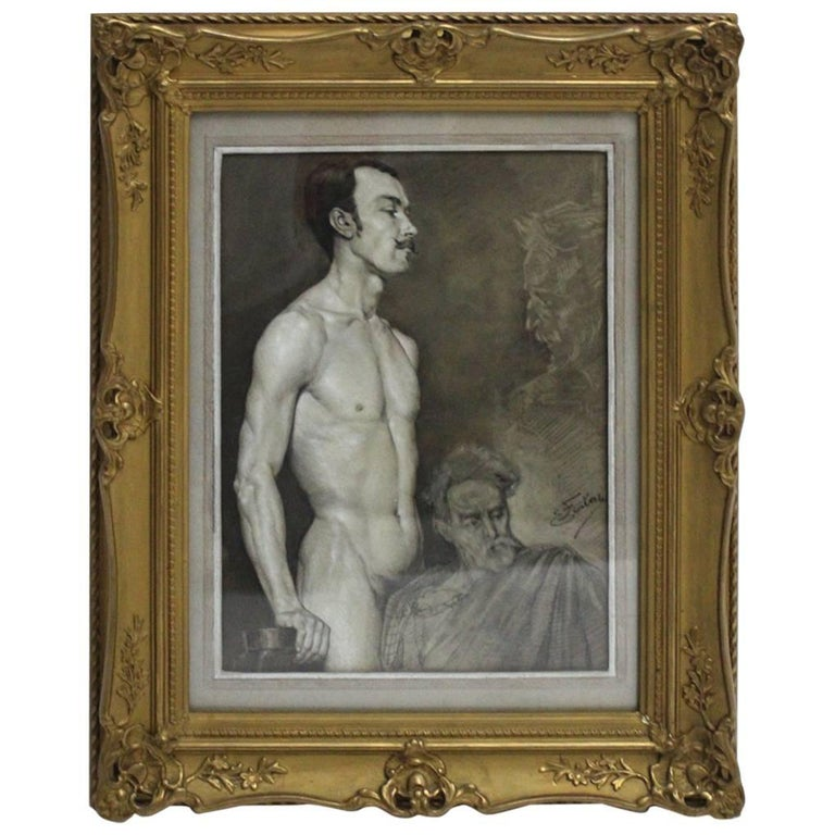 Art Deco Black and White Male Nude Painting by Emil Fiala Vienna, circa 1918 For Sale