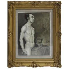 Black and White Art Deco Era Male Nude Painting by Emil Fiala Vienna, circa 1918