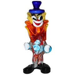 Multicolored Mid-Century Modern Vintage Red Murano Glass Clown, Italy, 1950s