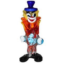 Mehrfarbiger Clown aus Muranoglas, Italien, 1950er Jahre