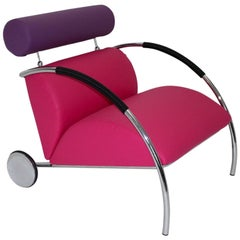 Modernist Pink Violet Vintage Armchair Zyklus Chair by Peter Maly, 1980s Germany