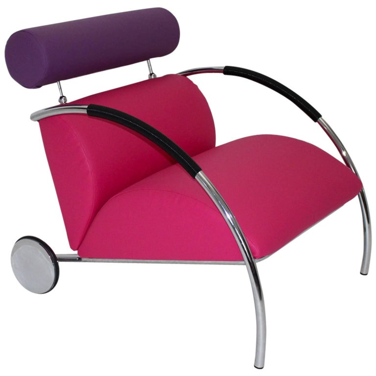 Modernist Pink Violet Vintage Armchair Zyklus Chair by Peter Maly, 1980s Germany For Sale