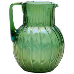 Loetz Art Nouveau Neptun Iridescent Green Glass Jug, circa 1900