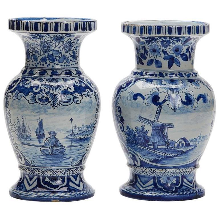 Pair Antique Dutch Delft Blue And White Landscape Vases 19th
