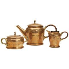 WMF Jugendstil Stylish Brass Three-Piece Tea Set, circa 1900