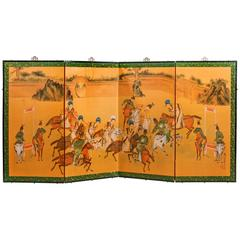 Vintage Chinese Four Fold Screen Showing Chinese Nobles Playing Court Polo