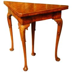 George I Walnut Feather Banded Corner Table