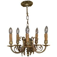 Early 20th Century Gilt Metal Chandelier