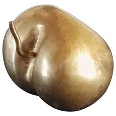 Chic Minimalist Miniature Apple Shaped Solid Bronze Paperweight, France, 1970s