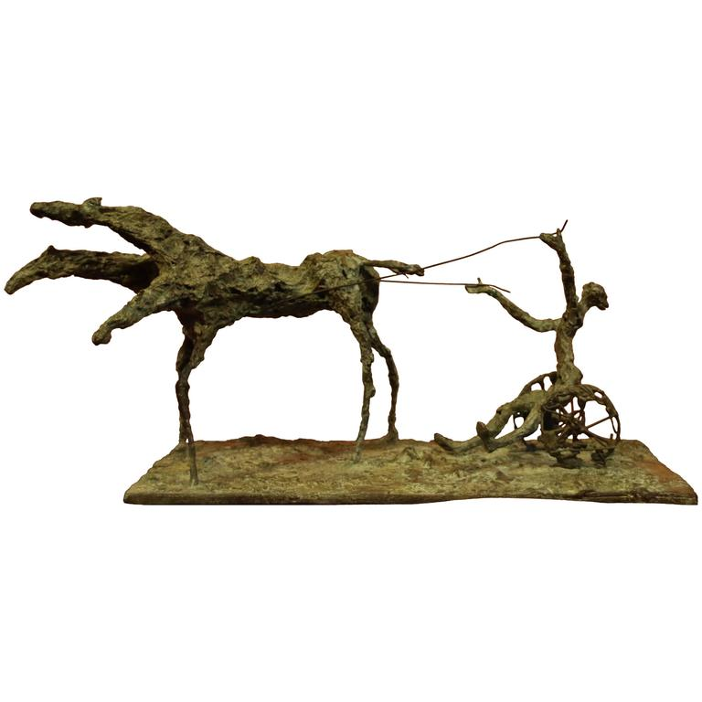 "Bronze Sculpture ""Sulki, the Chariot of Medea"" by Magdalena Reinharez"