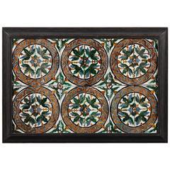 Large Set of 24 Framed 16th Century Spanish Tiles