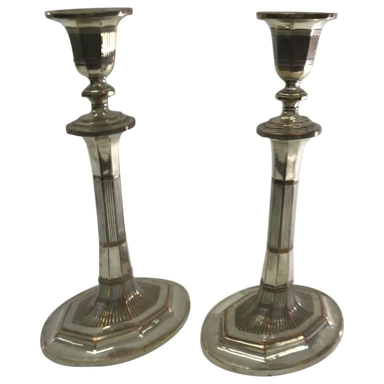 Pair of Georgian Candlesticks in Sheffield Plate, circa 1790