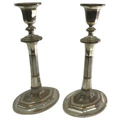 Pair of Georgian British Candlesticks in Sheffield Plate, circa 1790